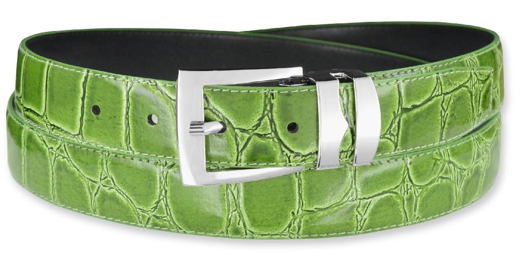 Rad Croc CELERY LIME GREEN Bonded Leather Men's Belt Silv...