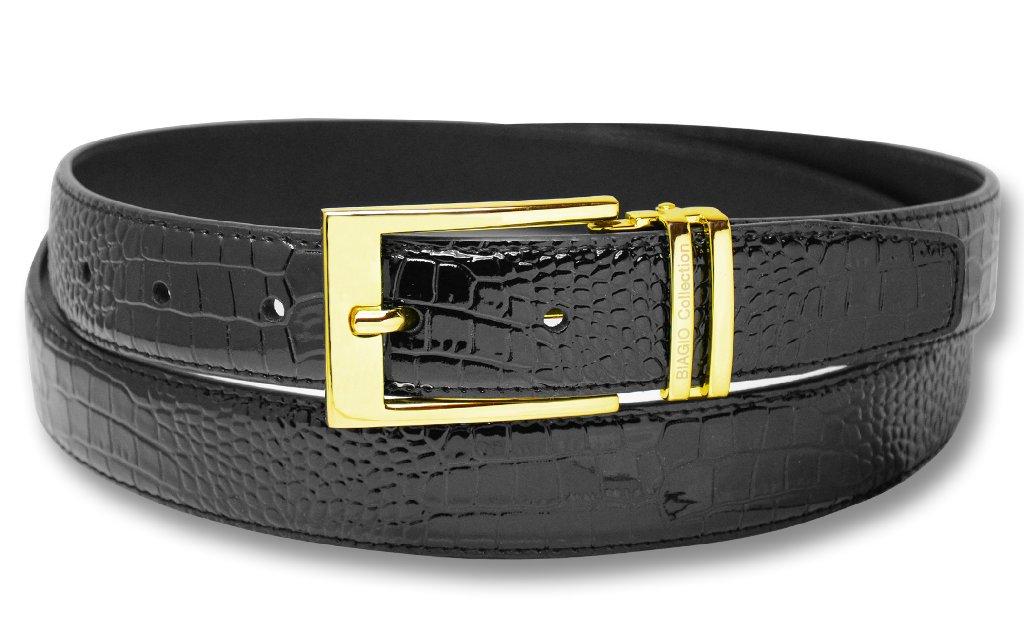 Biagio Croc Embossed BLACK Men's Bonded Leather Belt Gold...