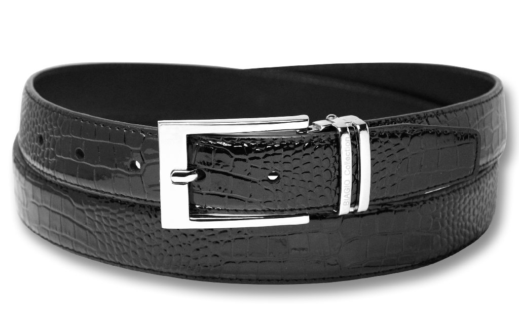 Biagio Croc Embossed BLACK Men's Bonded Leather Belt Silv...