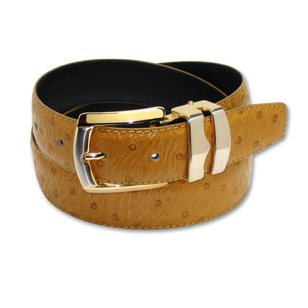 Rad OSTRICH MUSTARD / GOLD Color Bonded Leather Belt Gold-Tone Buckle Regular at Sears.com