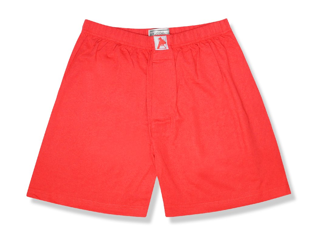 Biagio Men's Solid RED Color BOXER 100% Knit Cotton Short...