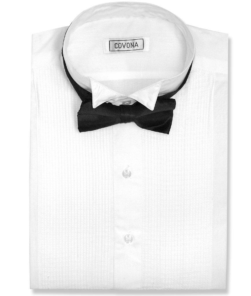 Covona Men's Tuxedo Solid White Color Dress Shirt w/ Blac...