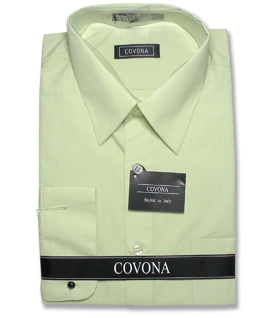 Covona Men's Solid Mint Light Green Dress Shirt w/ Conver...