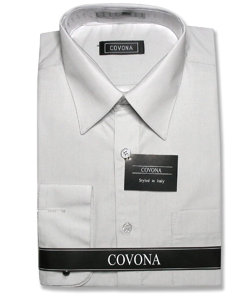 Covona Men's Solid Silver Gray Color Dress Shirt w/ Conve...