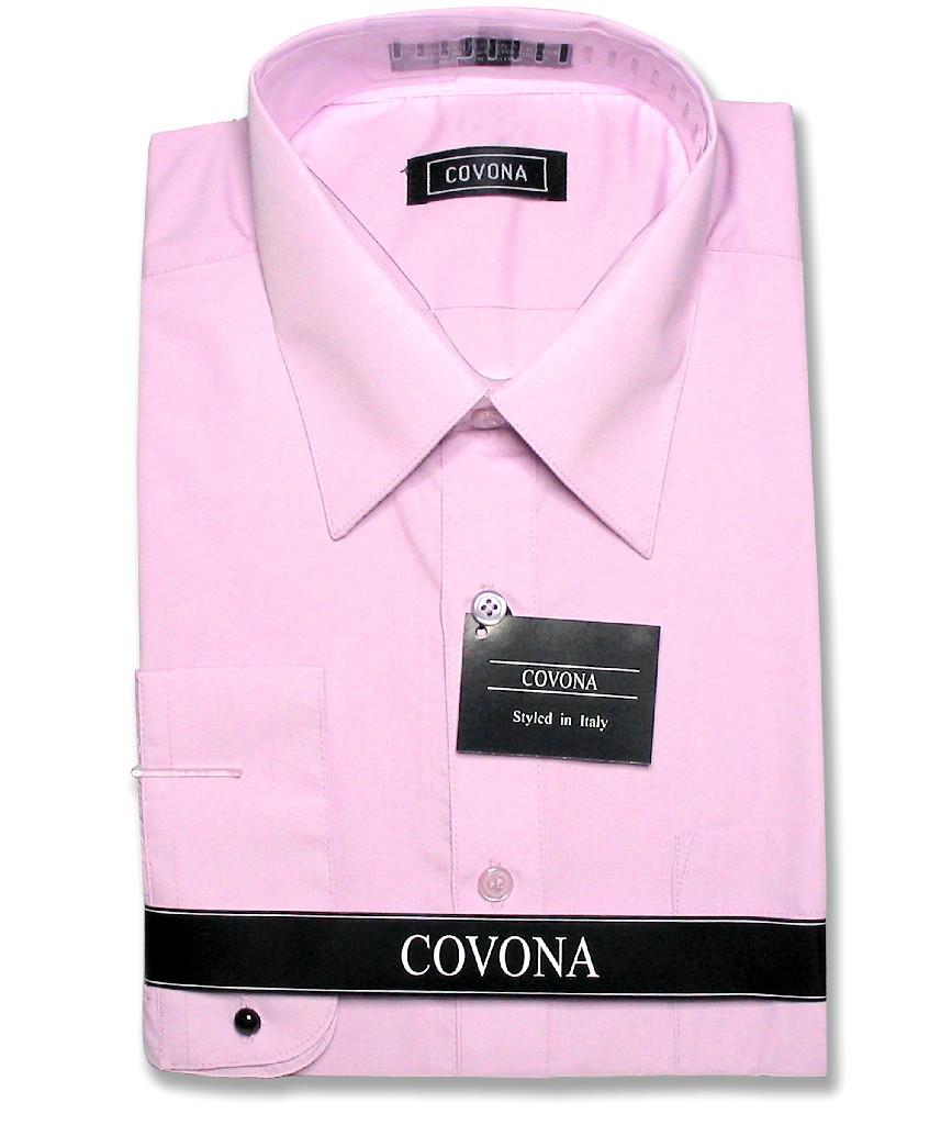 Covona Men's Solid Lavender Purple Color Dress Shirt w/ C...