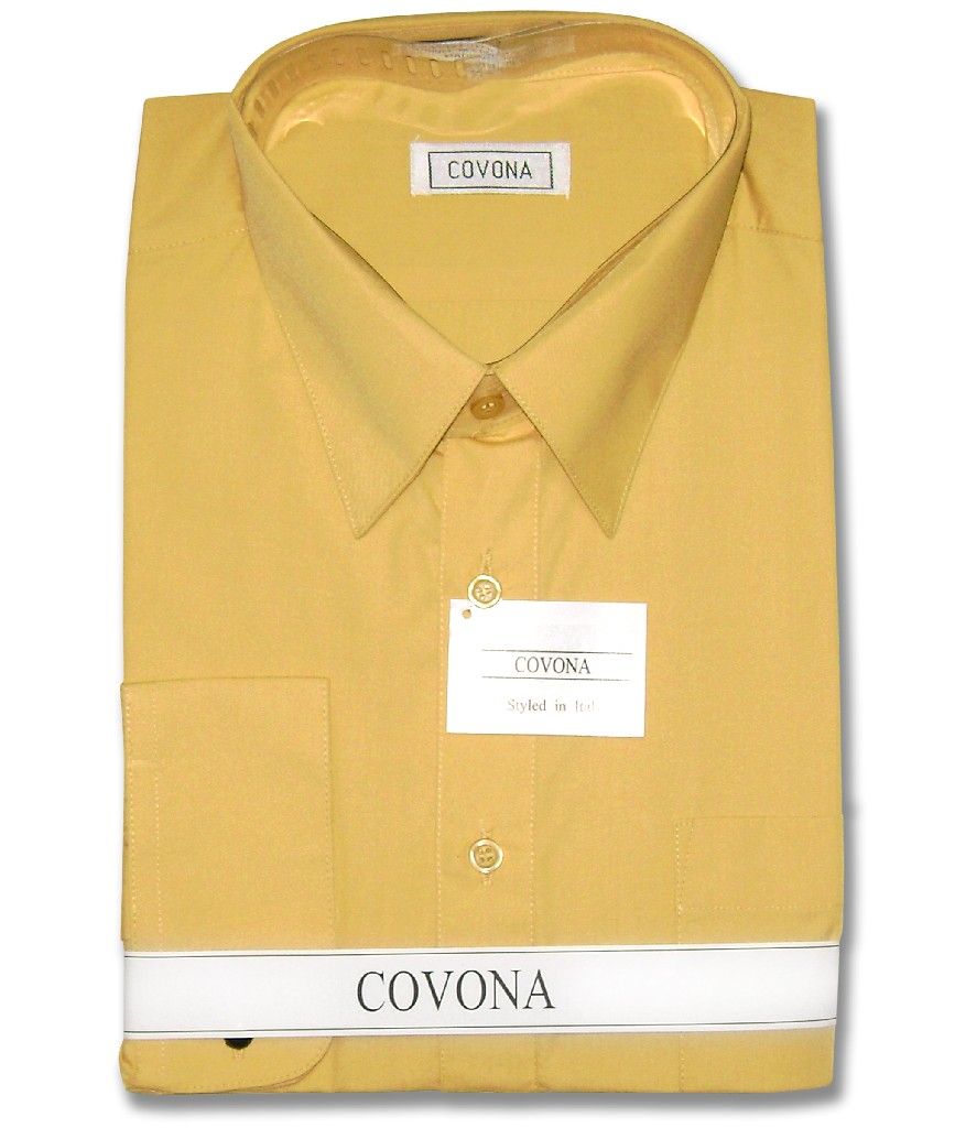 Covona Men's Solid Gold Color Dress Shirt w/ Convertible ...