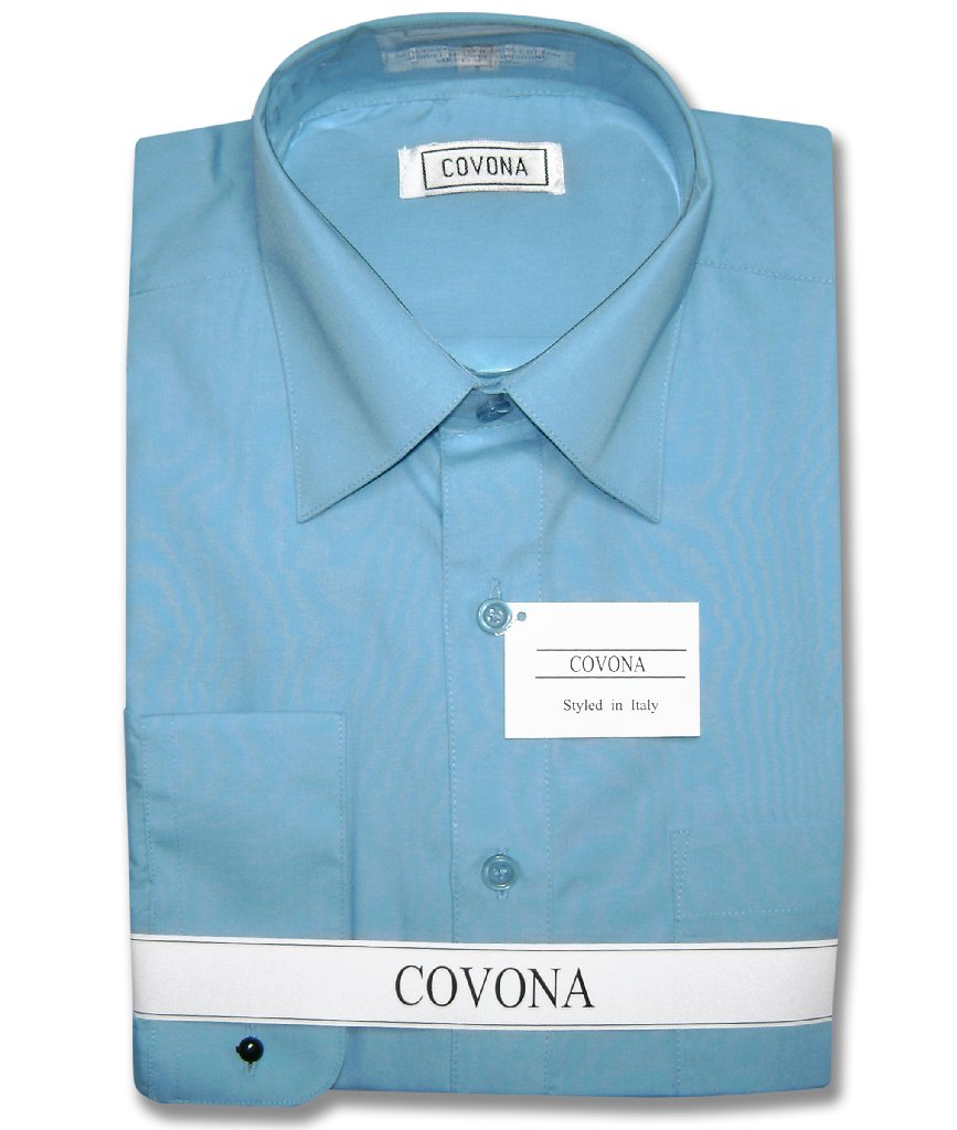 Covona Men's Solid PEACOCK BLUE Color Dress Shirt w/ Conv...