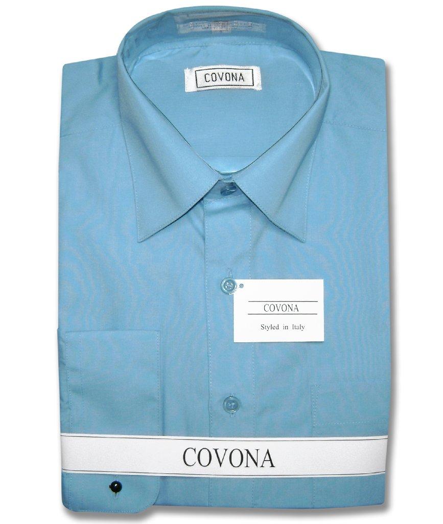 Covona Men's PEACOCK BLUE Color Dress Shirt w/ Convertible Cuffs