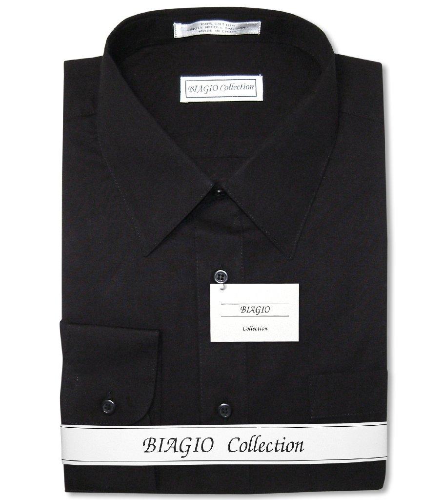 Biagio Men's 100% COTTON Solid BLACK Color Dress Shirt sz...