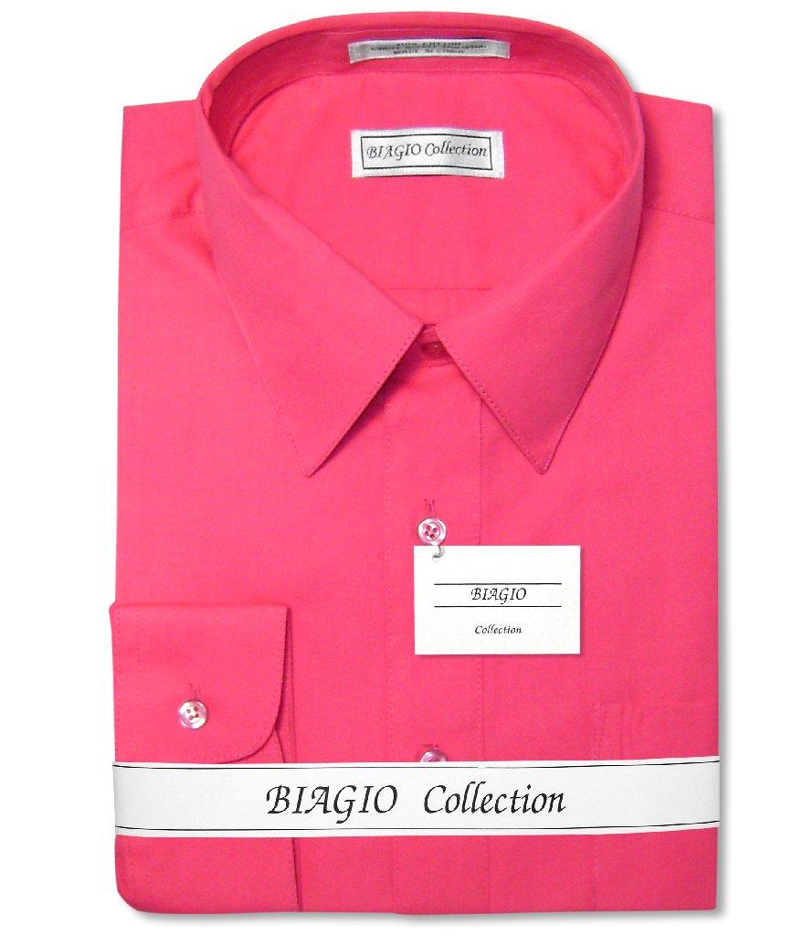 Biagio Men's 100% COTTON Solid HOT PINK FUCHSIA Color Dre...