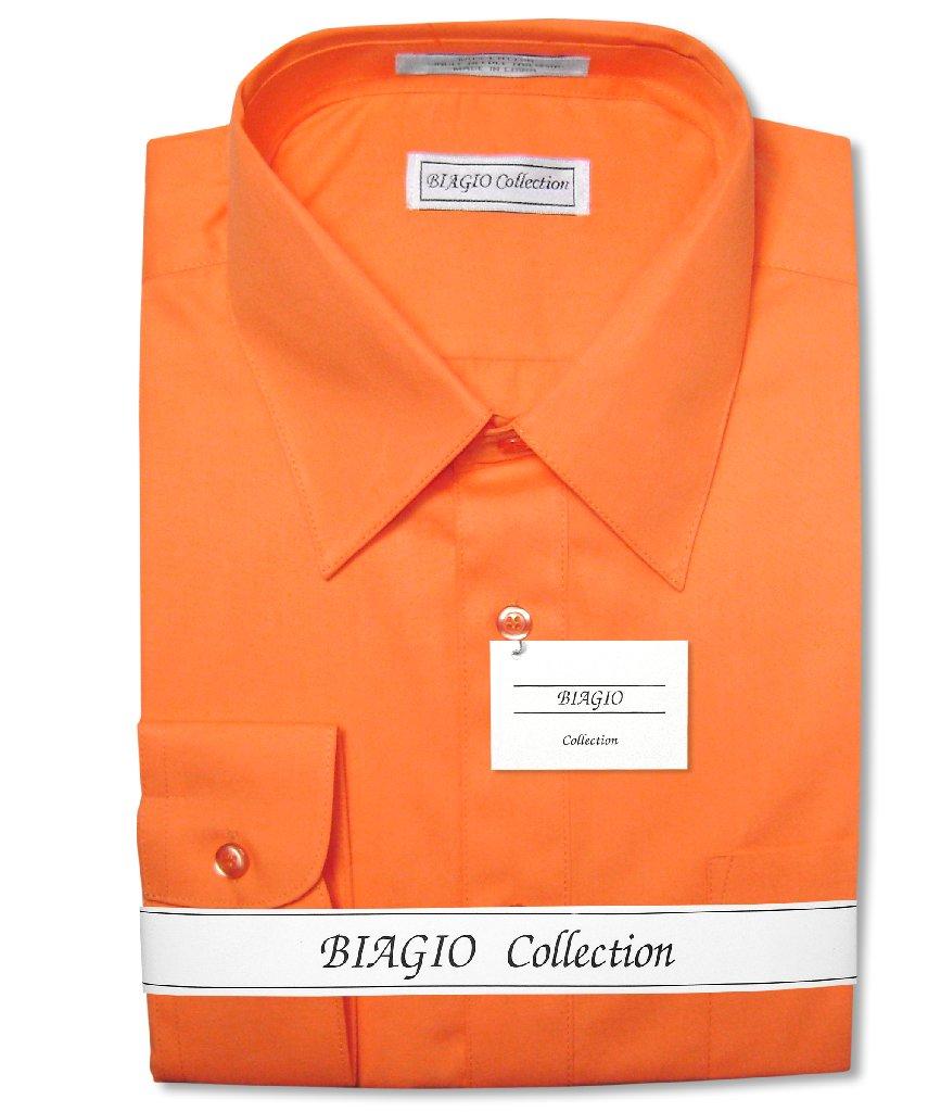 Biagio Men's 100% COTTON Solid BURNT ORANGE Color Dress S...