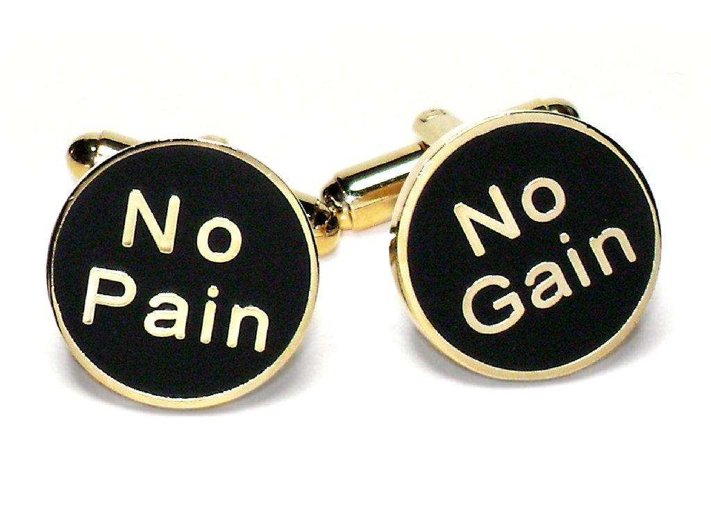 Gold-Tone Men's Cuff Links NO PAIN NO GAIN Cufflinks