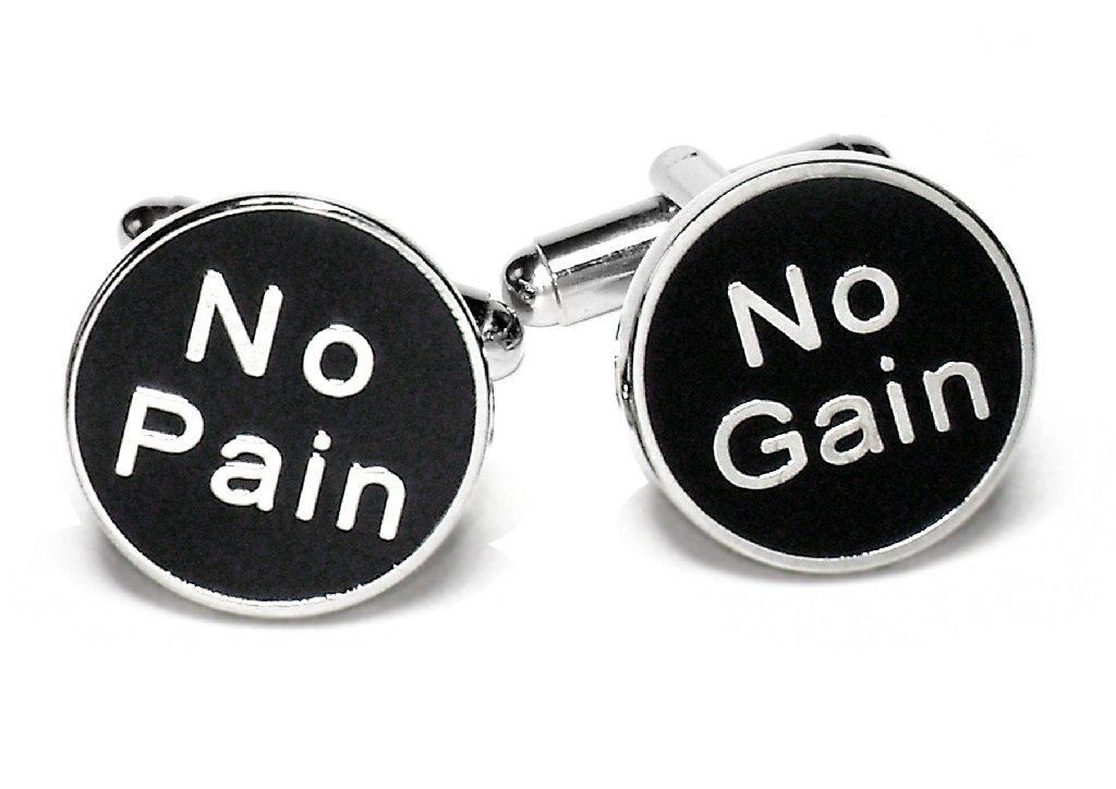 Silver-Tone Men's Cuff Links NO PAIN NO GAIN Cufflinks