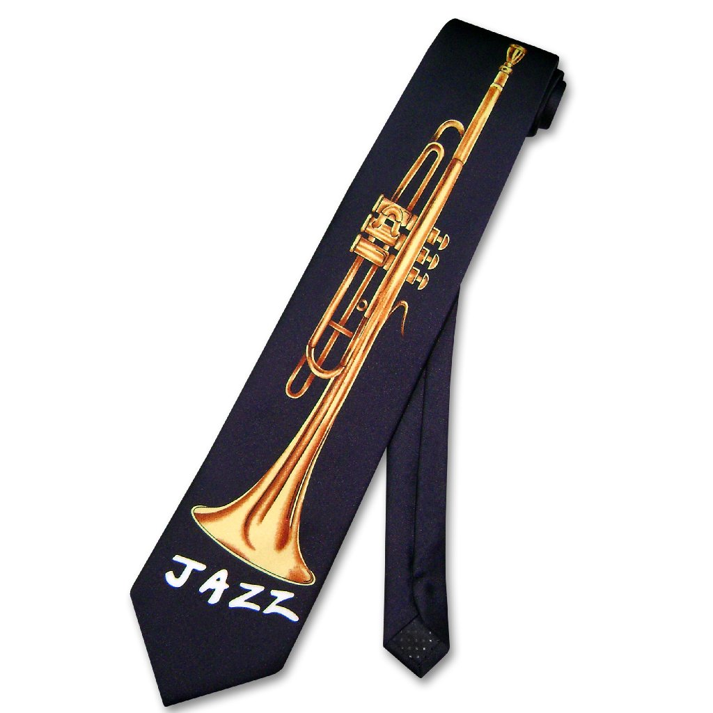 NeckTie JAZZ HORN Instrument Men's NAVY BLUE Neck Tie
