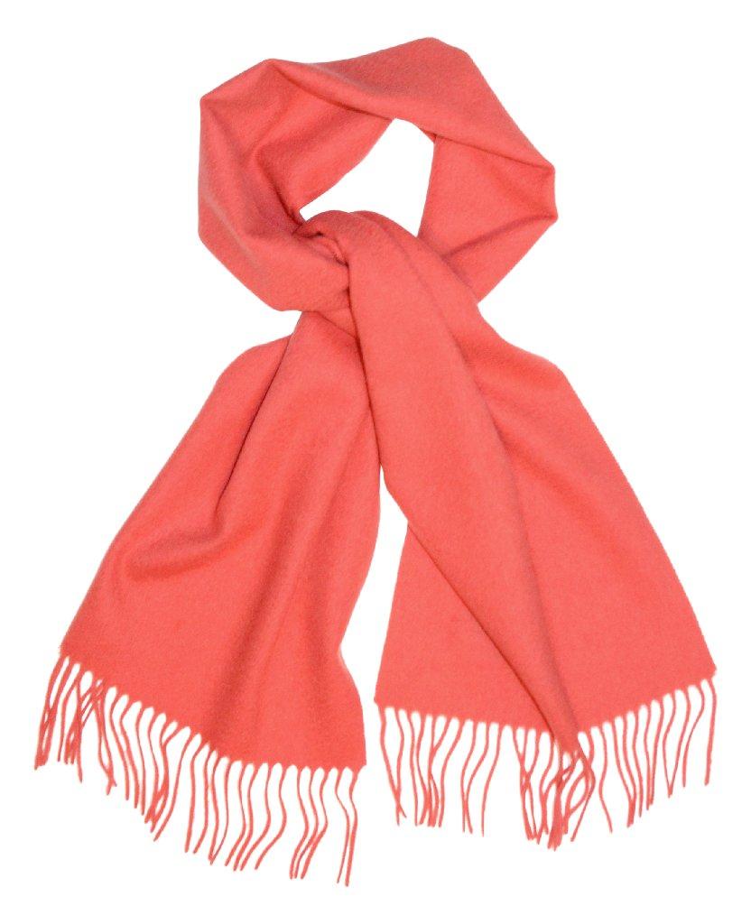 Biagio 100% Wool NECK Scarf Solid CORAL PINK Color Scarve...