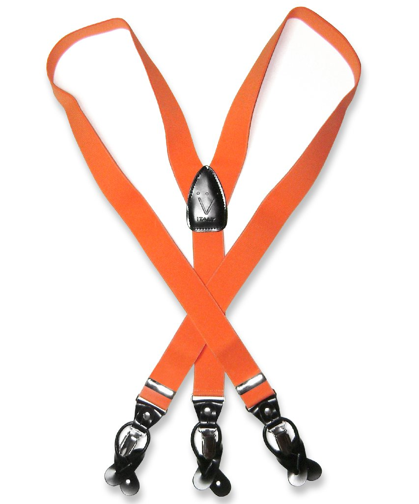 Men's Solid ORANGE SUSPENDERS Y Shape Back Elastic Button...