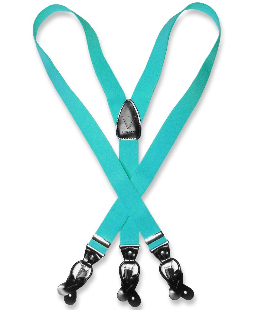 Men's TURQUOISE BLUE SUSPENDERS Y Shape Back Elastic Butt...
