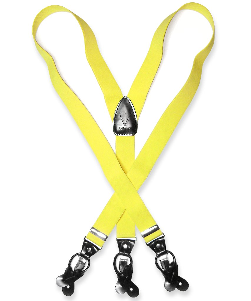 Men's Solid YELLOW SUSPENDERS Y Shape Back Elastic Button...