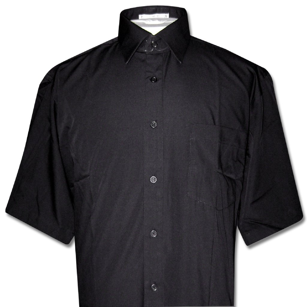 Covona Men's Short Sleeve Solid BLACK Color Dress Shirt s...