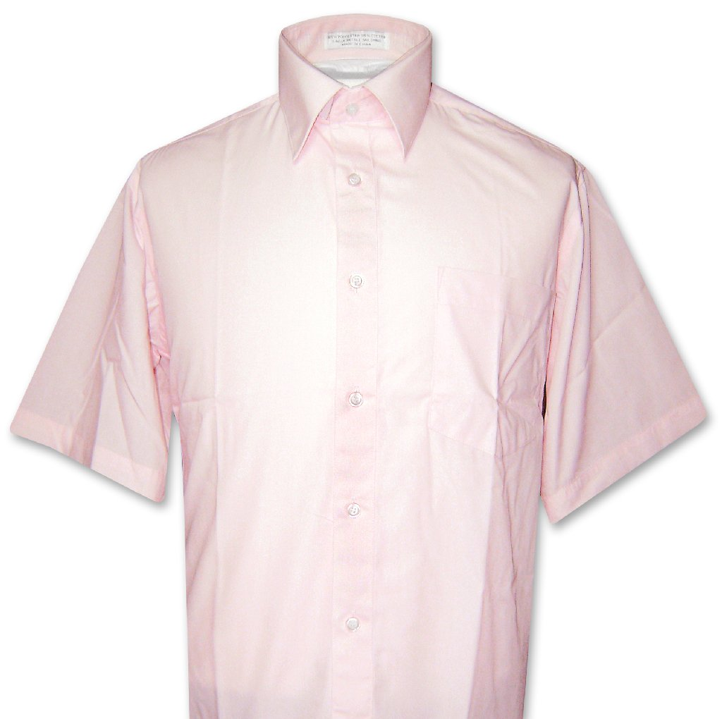 Covona Men's Short Sleeve Solid PINK Color Dress Shirt si...