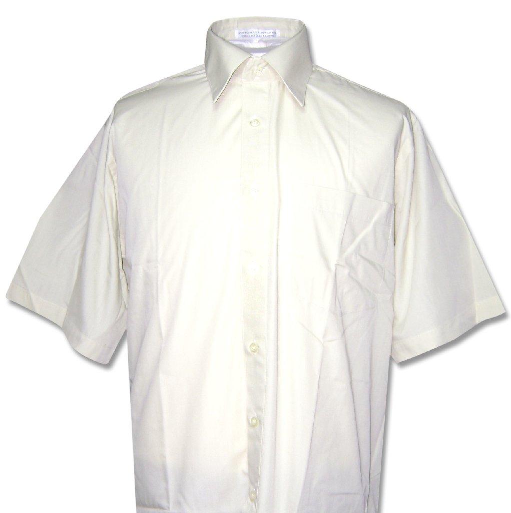 Covona Men's Short Sleeve Solid CREAM Ivory Color Dress S...