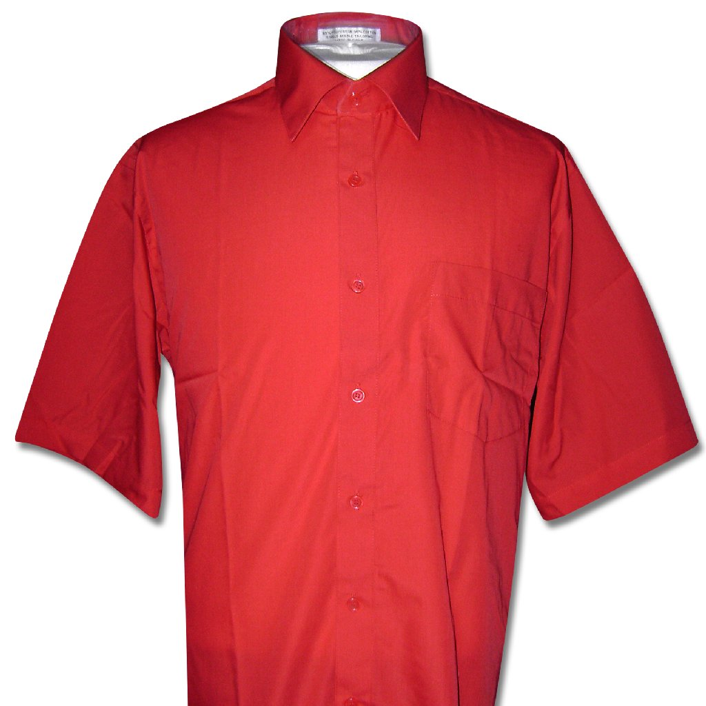 Covona Men's Short Sleeve Solid RED Color Dress Shirt siz...