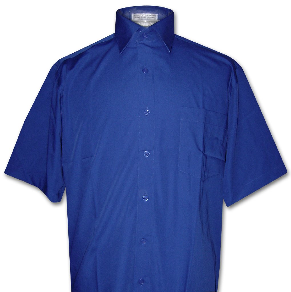 Covona Men's Short Sleeve Solid ROYAL BLUE Color Dress Sh...