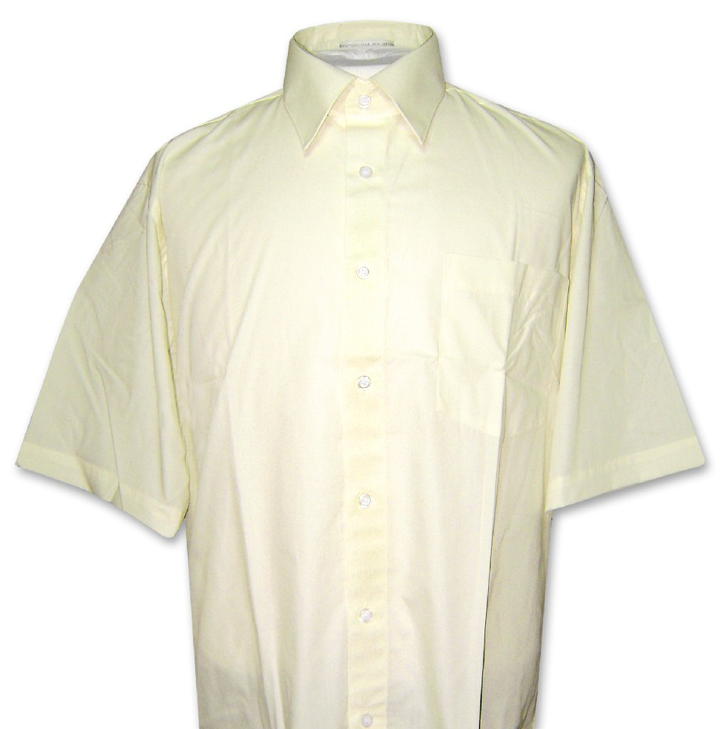 Covona Men's Short Sleeve Solid YELLOW Limon Color Dress ...