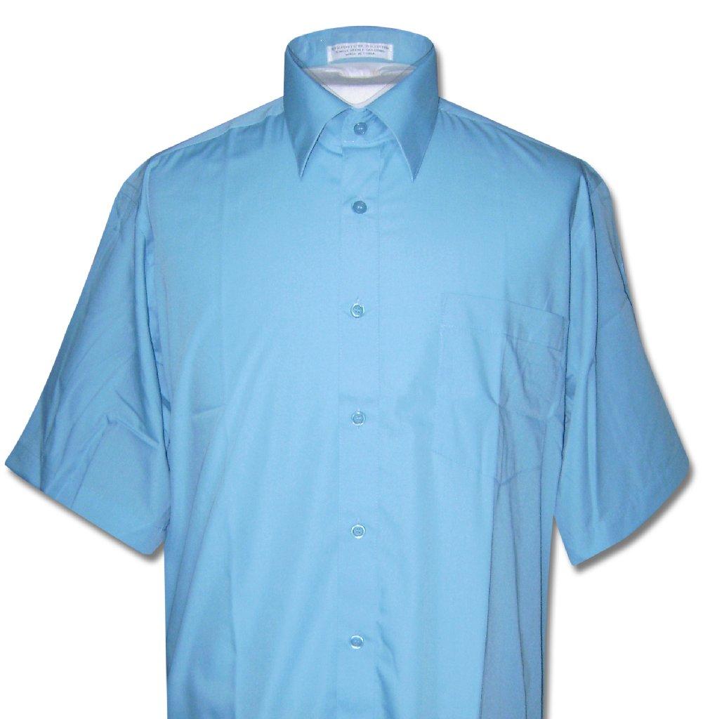 Covona Men's Short Sleeve PEACOCK TURQUOISE BLUE Dress Shirt