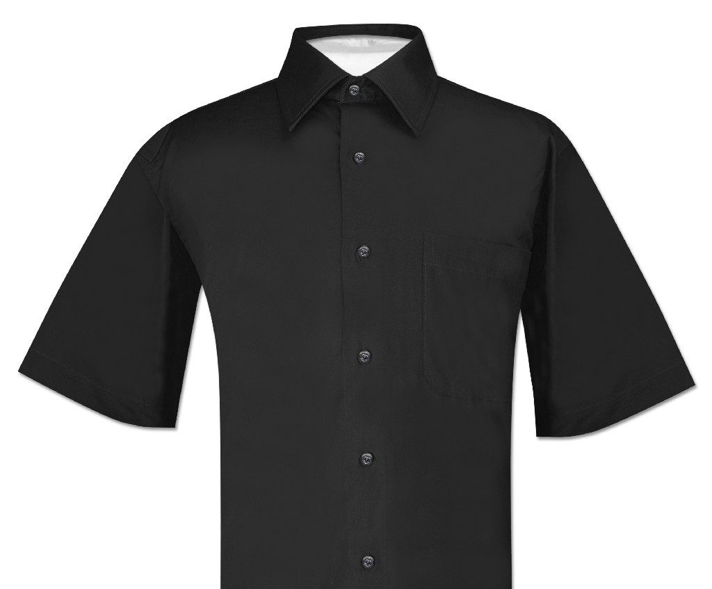 Biagio 100% Cotton Men's Short Sleeve Solid BLACK Color D...