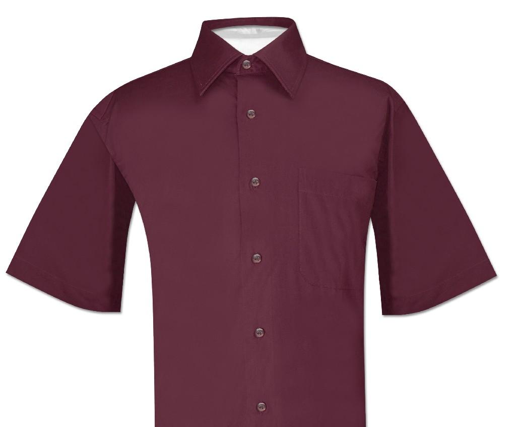 Biagio 100% Cotton Men's Short Sleeve BURGUNDY Dress Shirt