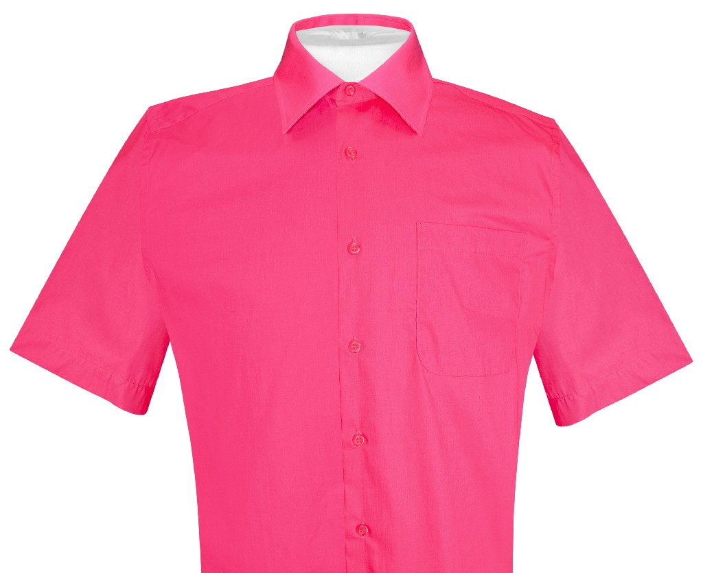 Biagio 100 cotton men 39 s short sleeve solid hot pink for 100 cotton mens dress shirts