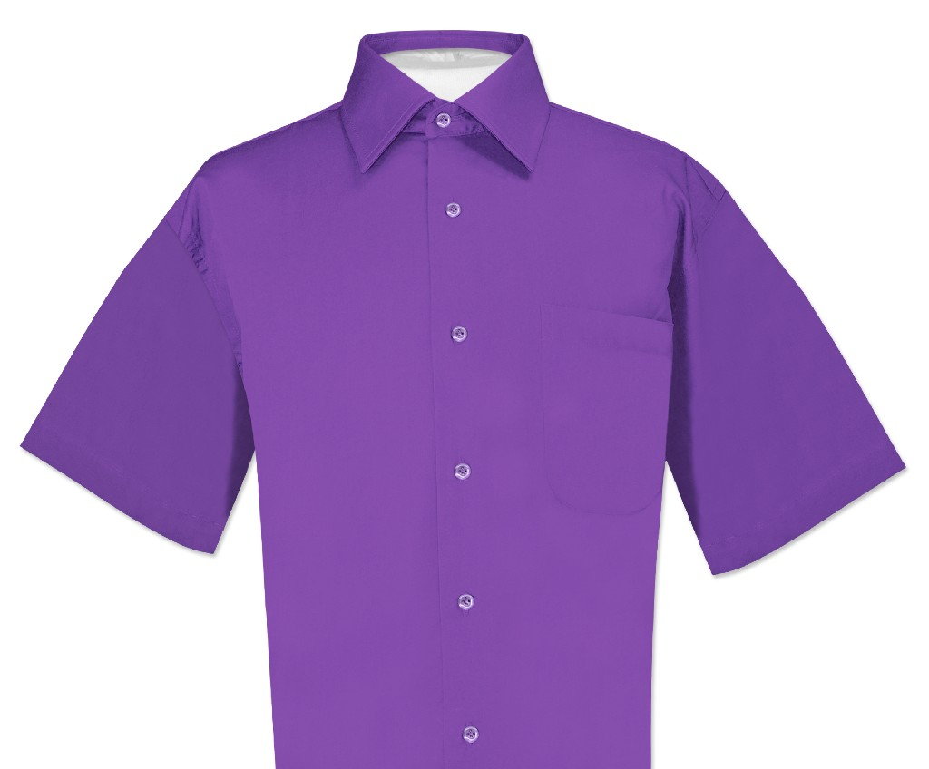 Biagio 100% Cotton Men's Short Sleeve Solid PURPLE INDIGO...