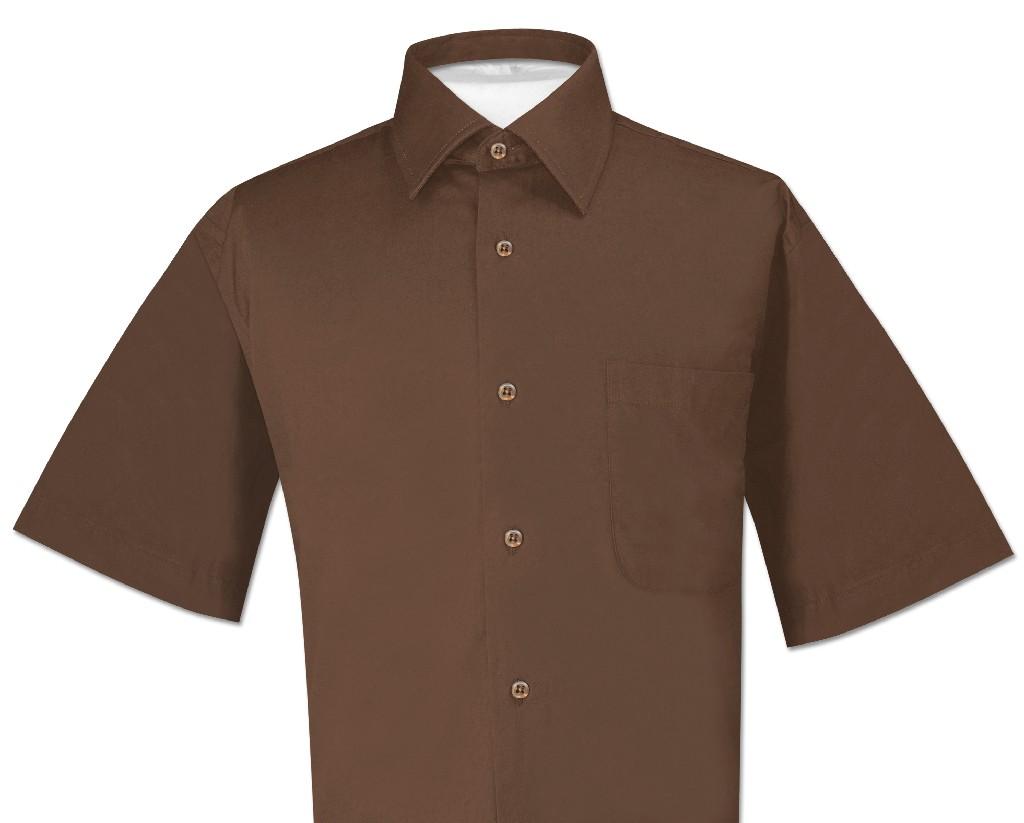 Biagio 100% Cotton Men's Short Sleeve Solid CHOCOLATE BRO...