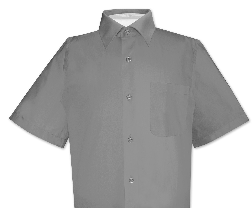 Biagio 100 cotton men 39 s short sleeve charcoal grey dress for Mens short sleve dress shirts