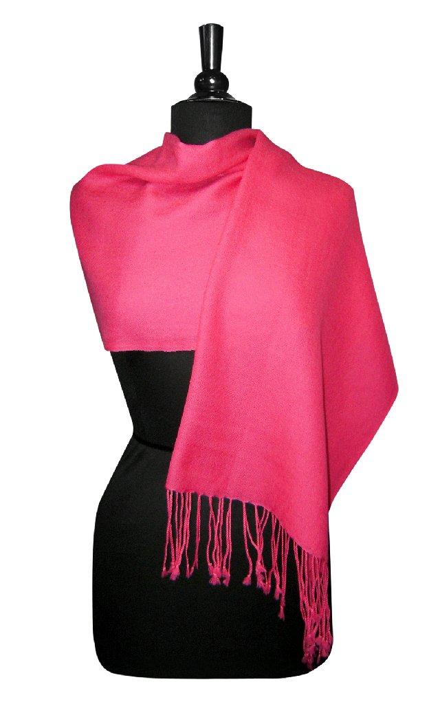 Biagio 100% Wool Pashmina Solid Scarf Hot Pink Fuchsia Co...