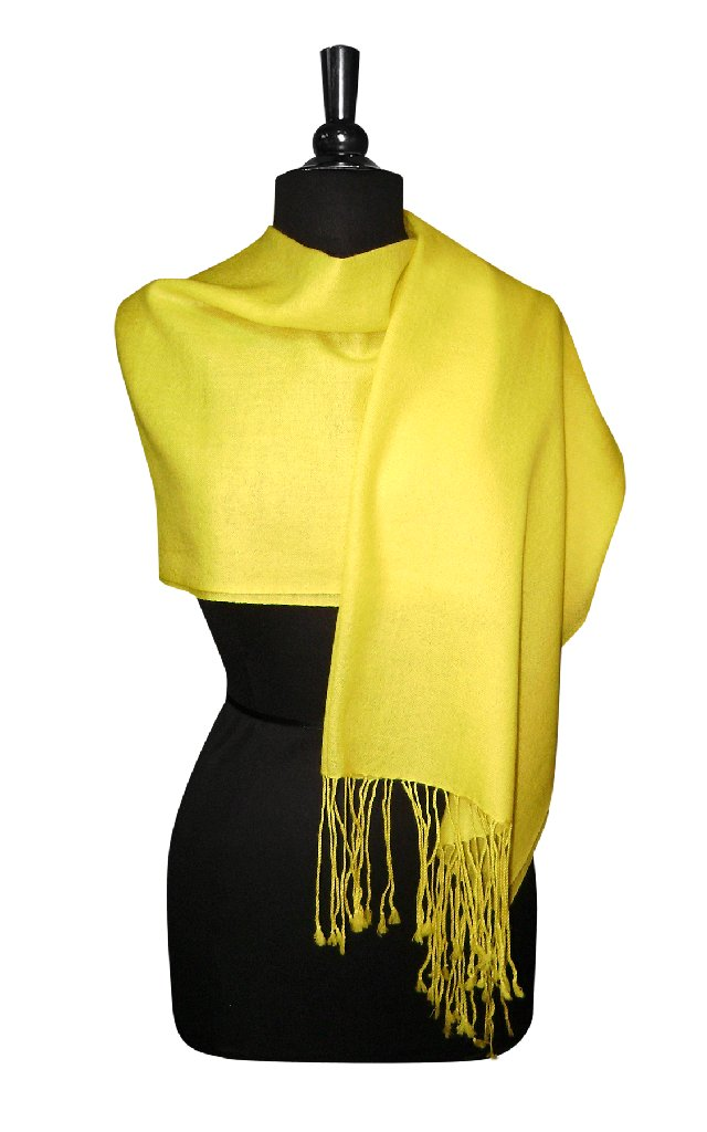 Biagio 100% Wool Pashmina Solid Scarf YELLOW Color Women'...