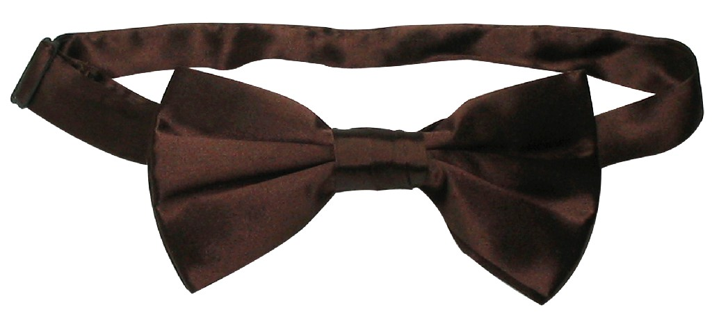 100% SILK BOWTIE Solid CHOCOLATE BROWN Color Men's Bow Ti...