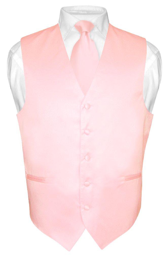 Men's Dress Vest & NeckTie Solid PINK Color Neck Tie Set for Suit or Tux sz 6XL