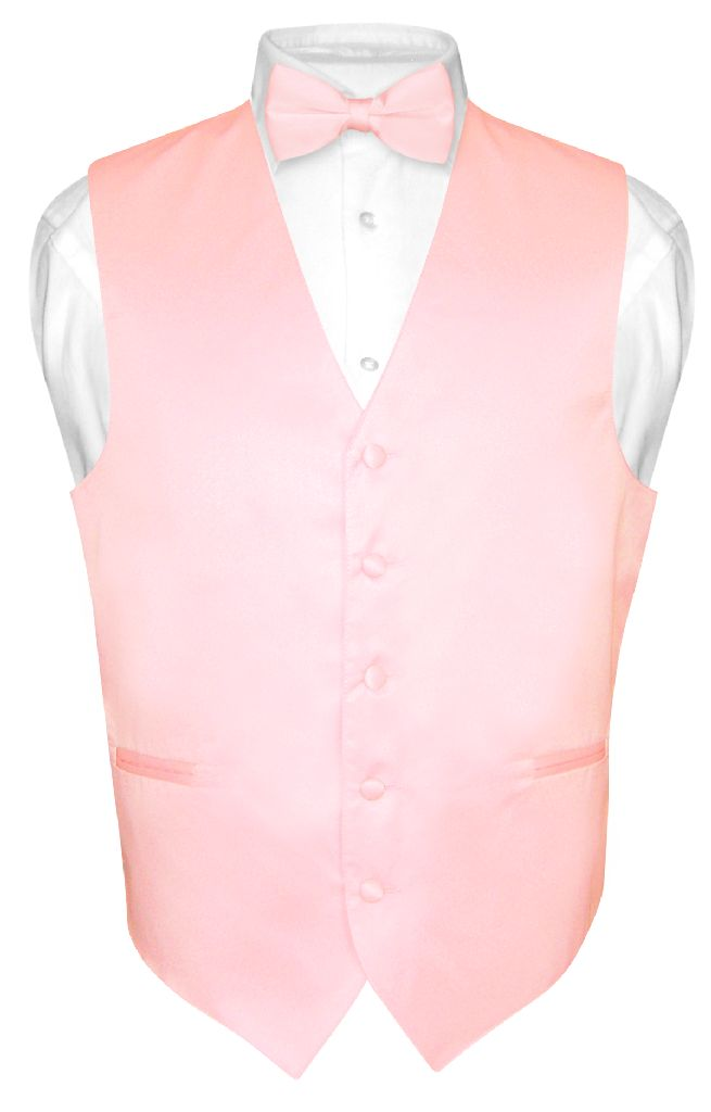 Men's Dress Vest & BowTie Solid PINK Color Bow Tie Set for Suit or Tuxedo XS