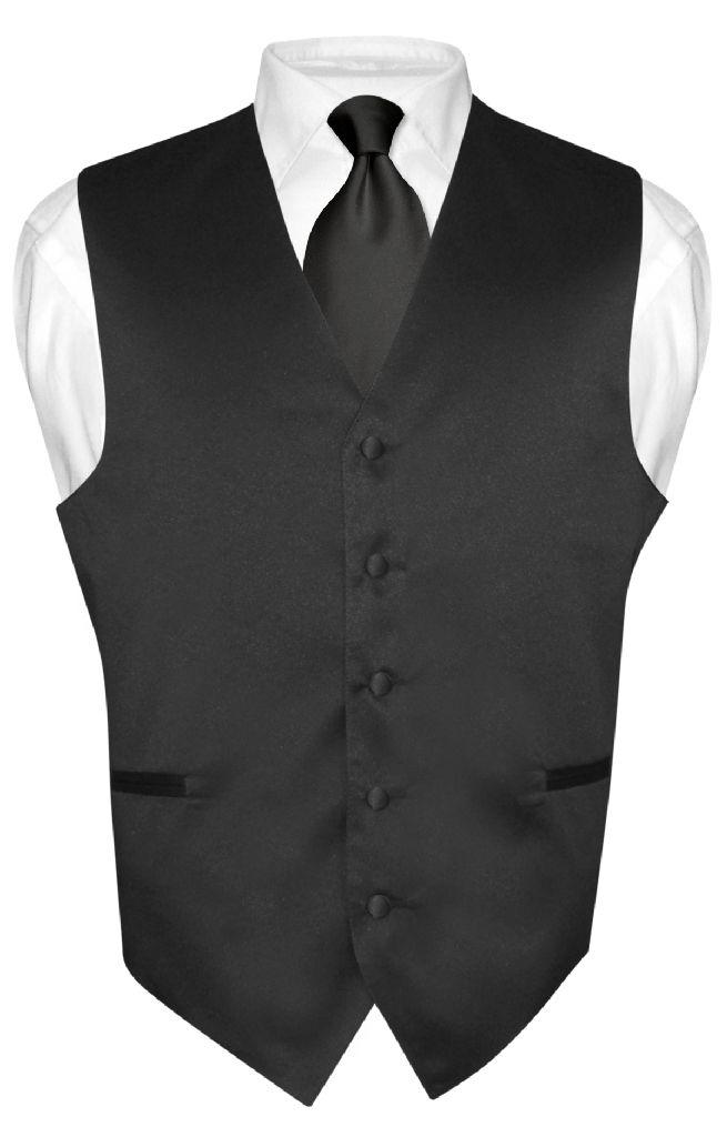Men's Dress Vest & NeckTie Solid BLACK Color Neck Tie Set for Suit or Tux sz XS