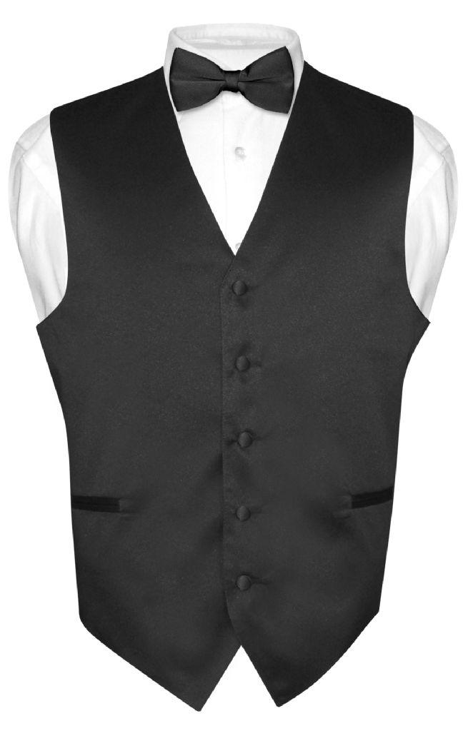 Men's Dress Vest & BowTie Solid BLACK Color Bow Tie Set f...
