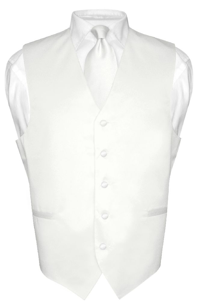 Men's Dress Vest & NeckTie Solid WHITE Color Neck Tie Set for Suit or Tux sz 6XL