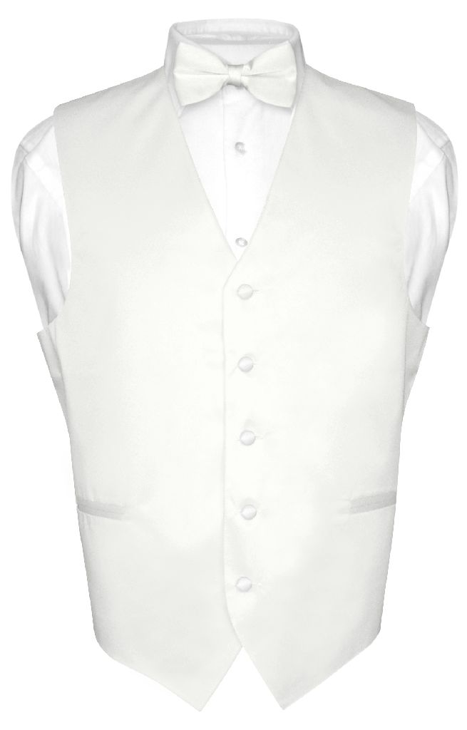 Men's Dress Vest & BowTie Solid WHITE Color Bow Tie Set for Suit or Tuxedo 3XL