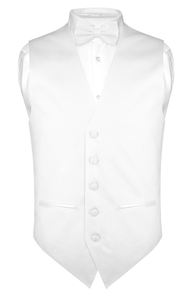 Men's SLIM FIT Dress Vest & BowTie Solid WHITE Color Bow ...