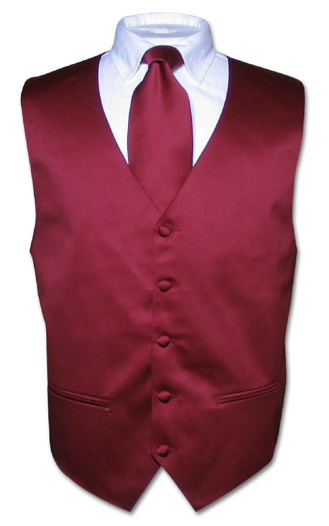 Men's Dress Vest & NeckTie Solid BURGUNDY Color Neck Tie Set for Suit or Tux XS