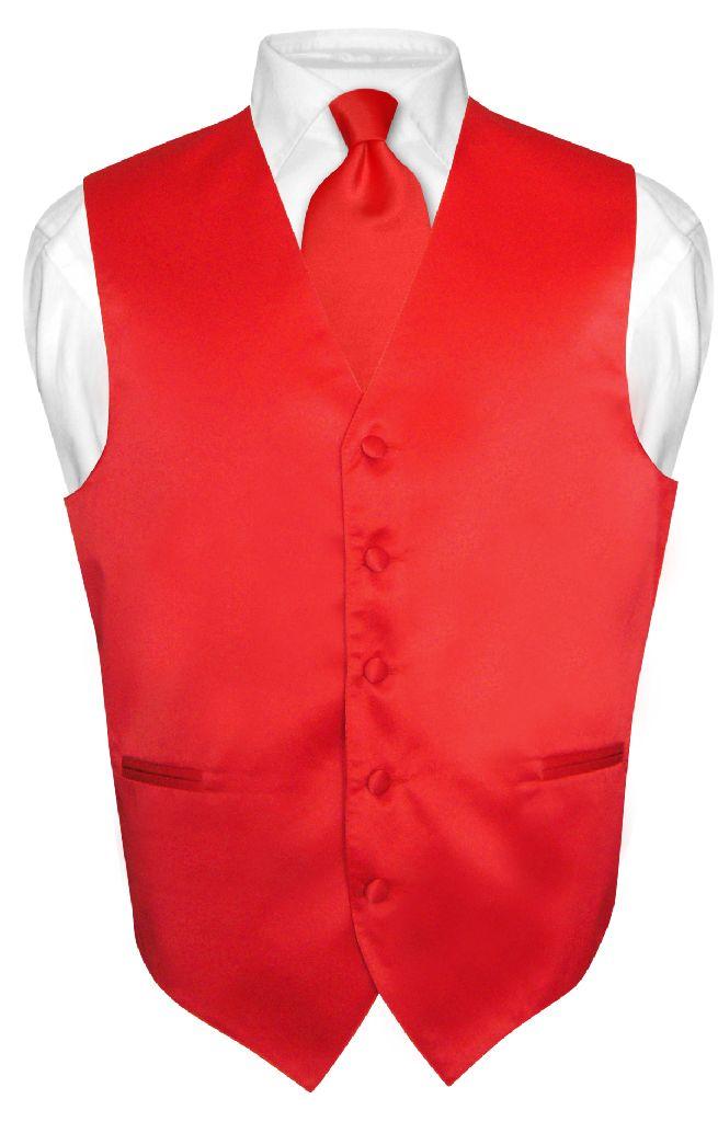 Men's Dress Vest & NeckTie Solid RED Color Neck Tie Set for Suit or Tux sz XS