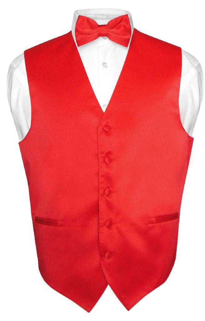 Men's Dress Vest & BowTie Solid RED Color Bow Tie Set for...