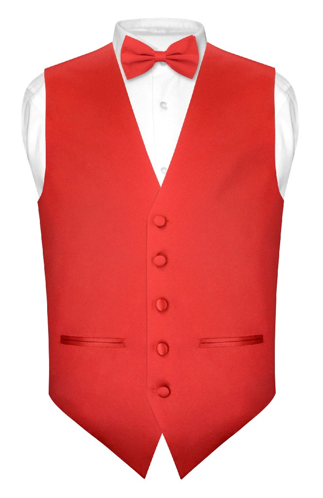 Men's SLIM FIT Dress Vest & BowTie Solid RED Color Bow Ti...