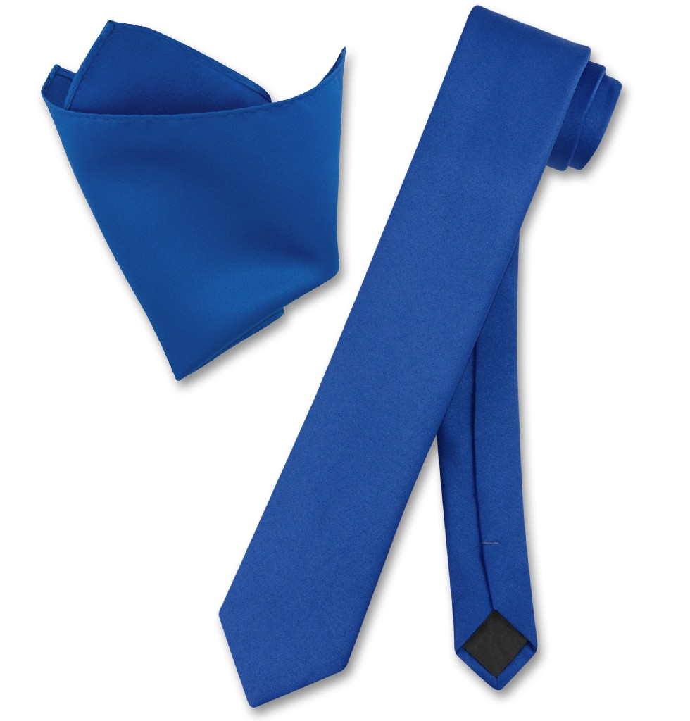 "Vesuvio Napoli Solid ROYAL BLUE Color Skinny 2.5"" Wide Ne..."